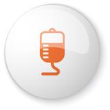 Glossy white web button with orange Transfusion icon on white ba