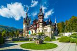 Peles castle Sinaia in autumn season, Transylvania, Romania protected by Unesco World Heritage Site