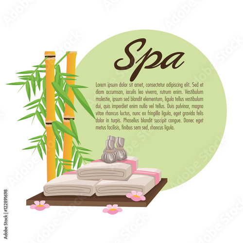 Bamboo and towel icon. Spa center and healthy lifestyle theme. Colorful design. Vector illustration