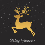 Christmas greeting  card template with golden jumping deer.