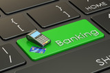 Banking concept on keyboard, 3D rendering