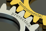 Environmental Protection, concept on the gearwheels, 3D renderin