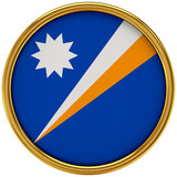 Marshall island Flag Glossy Button/icon (3d rendering).
