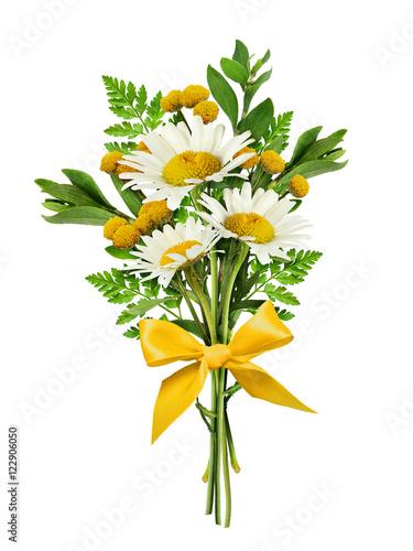 Staande foto Lelietje van dalen Daisy flowers and wild grass in a bouquet with silk bow