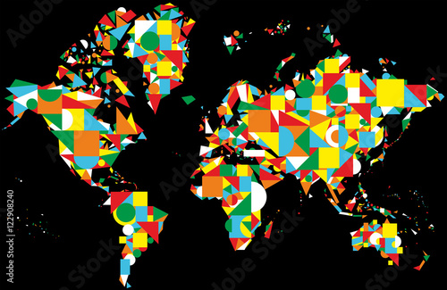 Colorful abstract world map on the black background