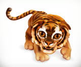 Tiger cub. Funny animal. 3d vector icon