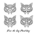 Set of cat sugar Mexican skulls. Vector illustration
