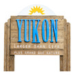 Canadian road sign welcoming to the state of Yukon