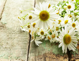 Fresh chamomile flowers bouquet on the wooden background
