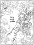 Fairy with butterfly wings on swing