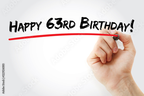 Poster Hand writing Happy 63rd birthday with marker, holiday concept background