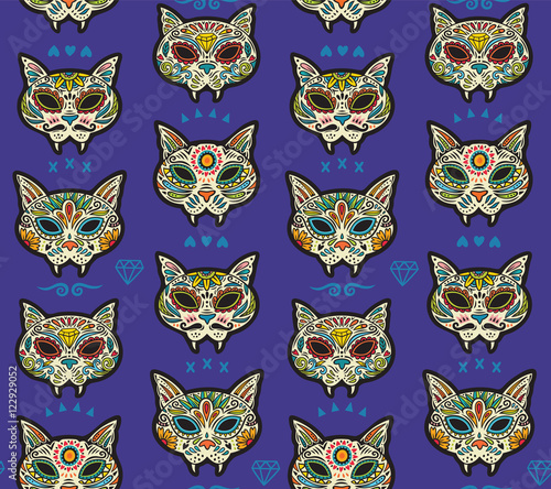 Cotton fabric Sugar skull cats pattern. Mexican day of the dead.