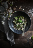 Farfalle Pasta Bowl with Peas, Basil and Flowers