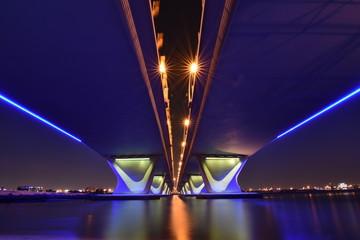 Garhoud Bridge from base at night with long exposure, Dubai, UAE