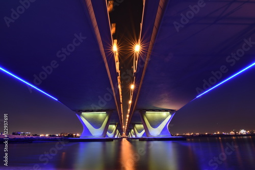 Garhoud Bridge from base at night with long exposure, Dubai, UAE Poster