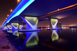 Garhoud Bridge from base at night with long exposure, Dubai, UAE