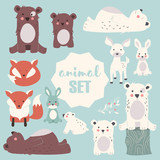 Collection of cute forest and polar animals with baby cubs, including bear, fox, fawn and rabbit