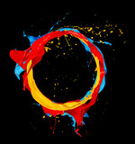 abstract color splashes circle on black background