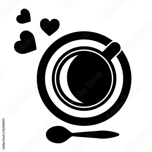 cup of coffee tea with hearts steam and spoon black simple icon