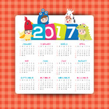 2017 calendar vector template with kids cartoon character