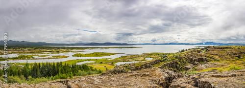 Staande foto Scandinavië Panorama of Thingvellir National Park on Iceland
