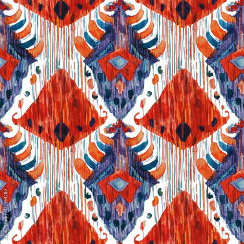 Ikat seamless bohemian ethnic pattern in watercolour style. - 122954280