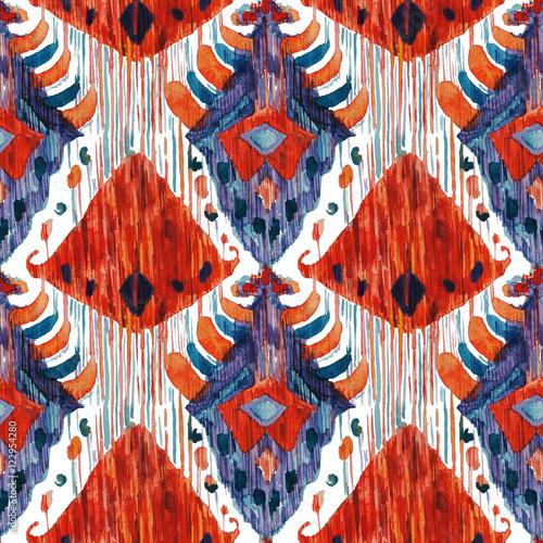 Ikat seamless bohemian ethnic pattern in watercolour style. - 122954280