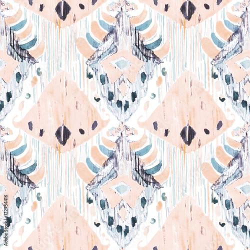 Ikat seamless bohemian ethnic pattern in watercolour style. - 122954416