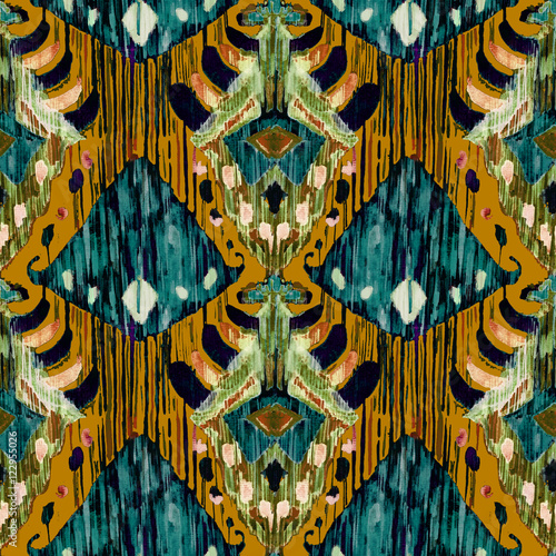 Ikat seamless bohemian ethnic pattern in watercolour style. - 122955026