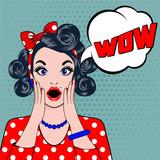 WOW bubble pop art surprised woman face.