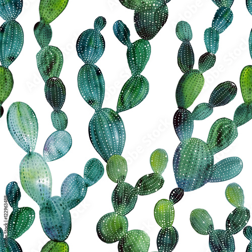 Cactus pattern in watercolor style - 122963488