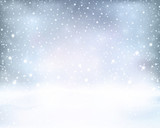 Fototapety Silver blue winter, Christmas background with snowfall