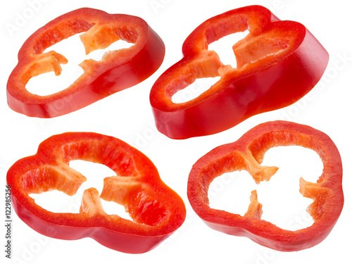 collection of red pepper slices isolated on the white background - 122985256