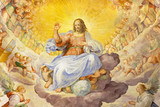 ROME, ITALY - MARCH 11, 2016: The fresco of Christ the Redeemer in Glory with the Heavenly Host by Niccolo Circignani Il Pomarancio (1588) in main apse of church Basilica di Santi Giovanni e Paolo. - 122989477