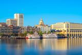 Riverfront of downtown Savannah in Georgia