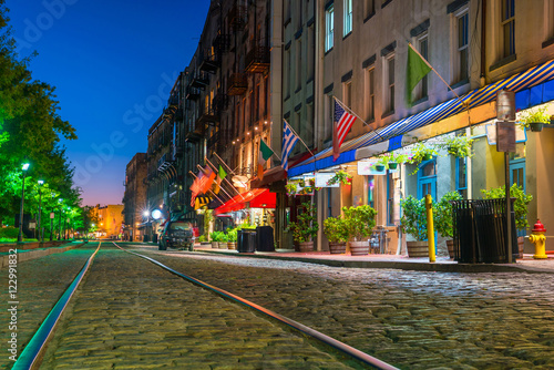 Shops and restaurants at River Street in downtown Savannah in Ge © f11photo