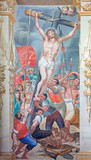 Salamanca - The Elevation of the cross fresco in church of Convento de San Esteban by unknown artist of 16. cent.