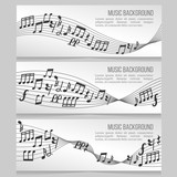 Music banners vector set with notes and sound wave