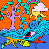 vector tree with pink