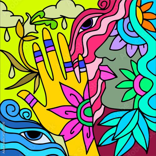Poster Klassieke abstractie yellow hand