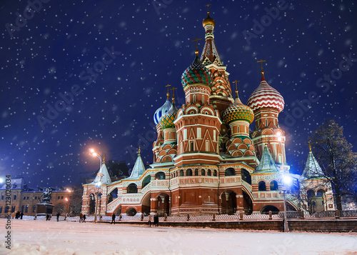 Zdjęcia St. Basil's Cathedral in winter (snow storm), Russia