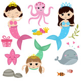 Set of cute girl mermaids