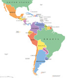 Latin America single states political map. Countries in different colors, with national borders and English country names. From Mexico to the southern tip of South America, including the Caribbean. - 123034829