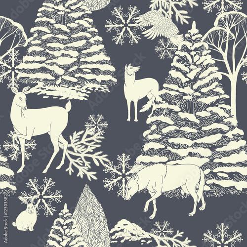 Materiał do szycia Christmas and New Year monochrome festive background