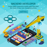Developing mobile applications flat 3d isometric style. Backend