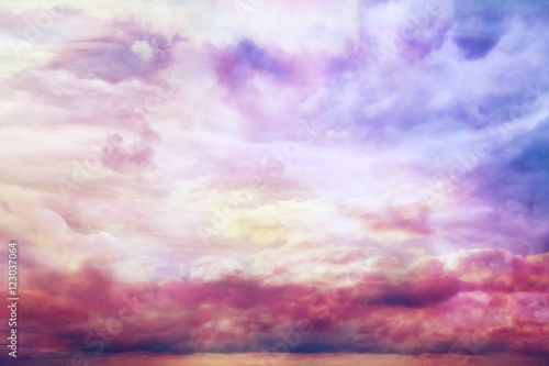 watercolor sky texture, background pink clouds - 123037064