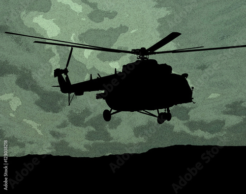 Poster MI-17 helicopter on the green camouflage background