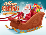 merry cheristmas with santa claus sled