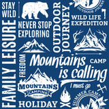 Typographic vector mountain and outdoor adventures pattern