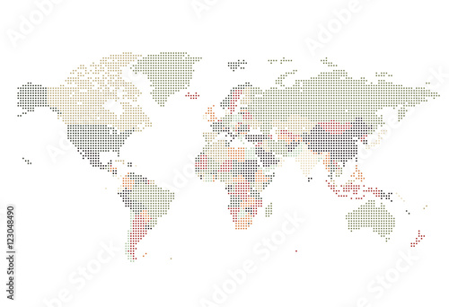 Fototapeta Dotted World map of square dots